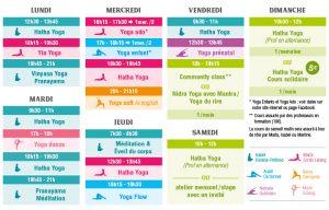 Cours de yoga bordeaux chartrons, planning 2018/2019